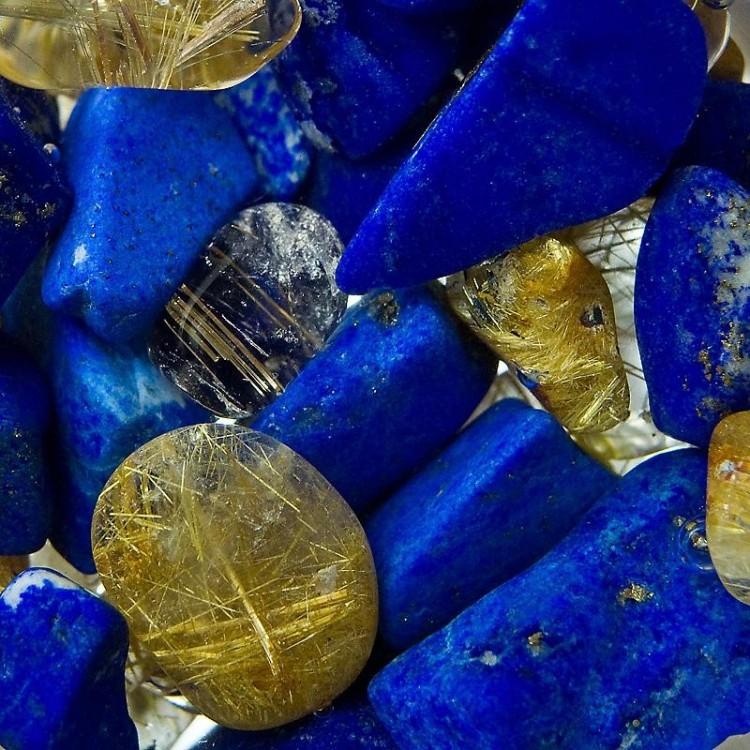 Lapis lazuli - Křišťál s rutilem
